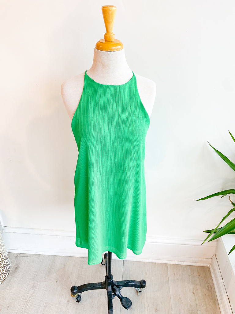 Crinkle Solid Shift Dress - Green