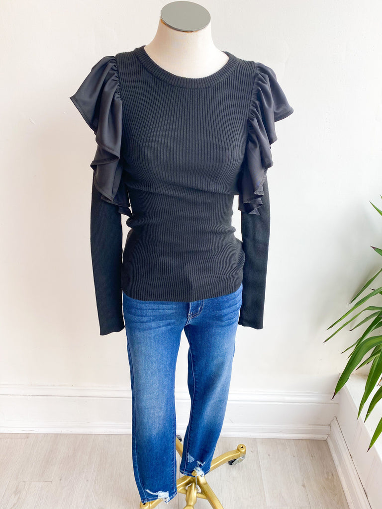 Brooklyn Flutter Sleeve Ribbed Sweater