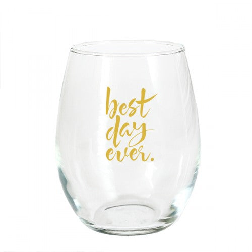 Wedding Stemless Champagne Glass - Best Day