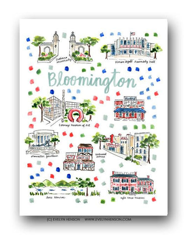 Evelyn Henson City Map Prints - Bloomington, IN