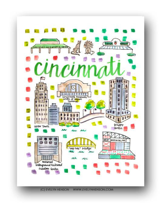 Evelyn Henson City Map Prints - Cincinnati, OH