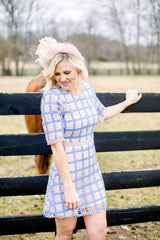 Oh Baby Grid Cap Sleeve Dress