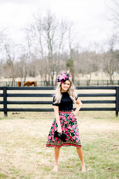 Chain and Flowers Midi Skirt
