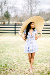 Springtime Checkered Front Tie Dress