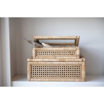 Small Woven Rattan and Wood Box Small