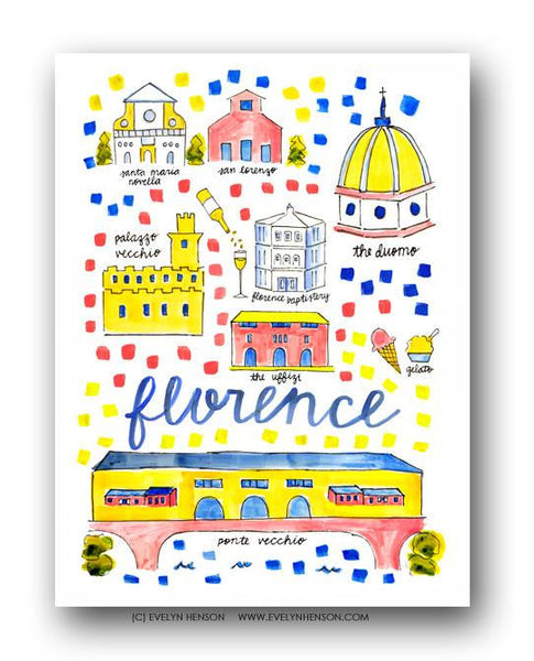 Evelyn Henson City Map Prints - Florence