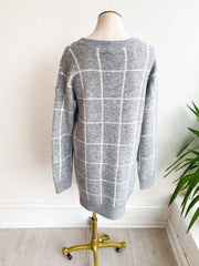 Having A Grid Day Sweater Dress - Grey