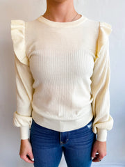 Take for Granted Ruffle Shoulder Sweater - Ivory