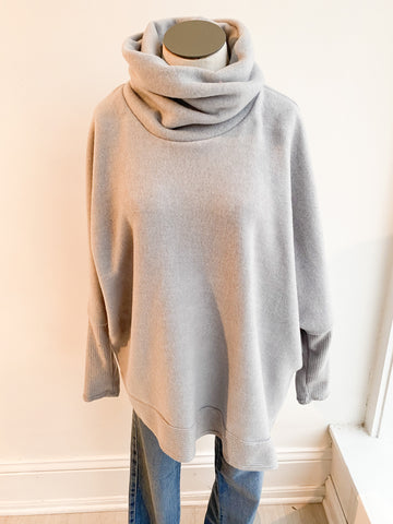 Last to Love Cowl Neck Sweater - Grey