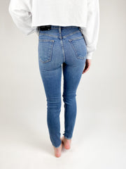 Milly High Rise Distressed Skinny - Medium Denim