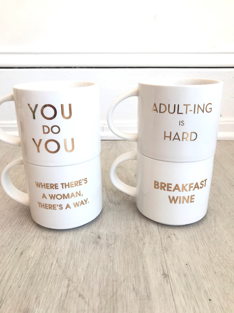 White/ Gold Sayings Mug