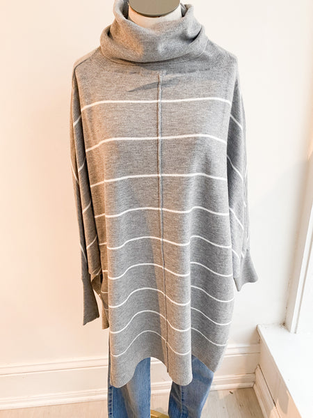 Alina Striped Turtleneck - Grey