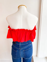 Posh Off the Shoulder Top - Red