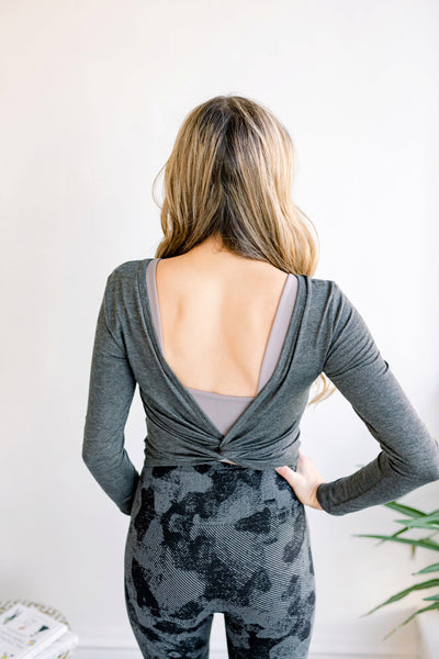Lulu Twist Back Athletic Top - Charcoal