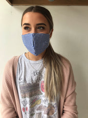 Cotton Print Face Mask - Blue Gingham