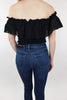 Love You Forever Off the Shoulder Eyelet Bodysuit - Black