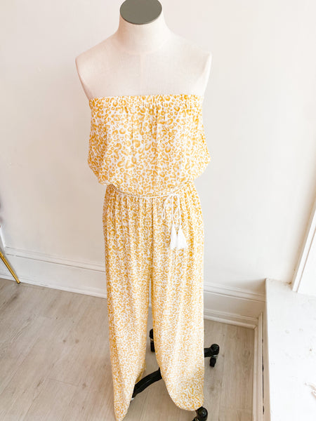 Maize Leopard Strapless Jumpsuit