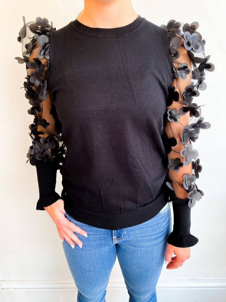 All My Love Floral Mesh Sleeve Top - Black