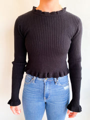 Just a Game Ribbed Cropped Sweater