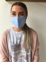 Cotton Print Face Mask - Chambray Stripe