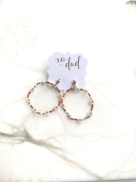 Multi Daisy Drop Earrings