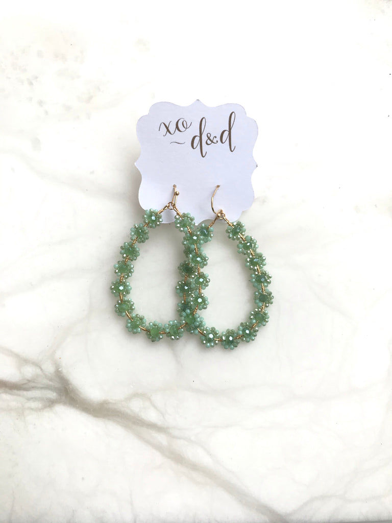 Tear Drop Flower Earrings