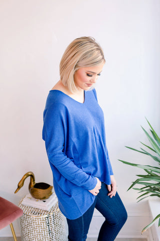 Because of You Casual Sweater - Blue