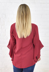 Carmen Bell Sleeve Top - wine