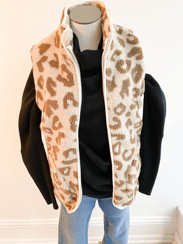 Happiness Leopard Fuzzy Vest - Brown