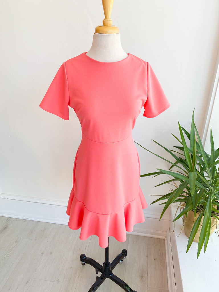 Ellis Fluted Hem Dress - Coral