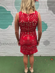 Omaha Beach Red Lace Dress