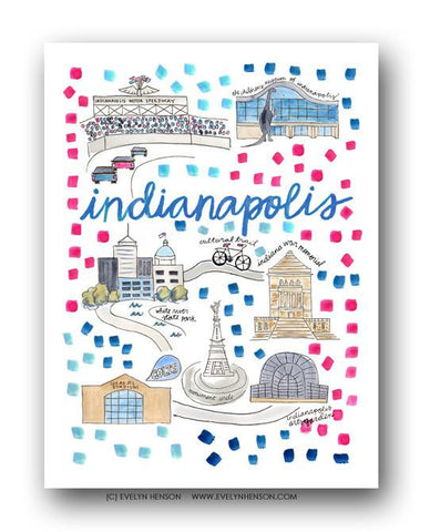 Evelyn Henson City Map Prints - Indianapolis, IN