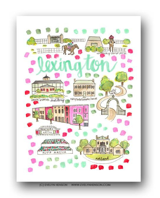 Evelyn Henson City Map Prints- Lexington, KY