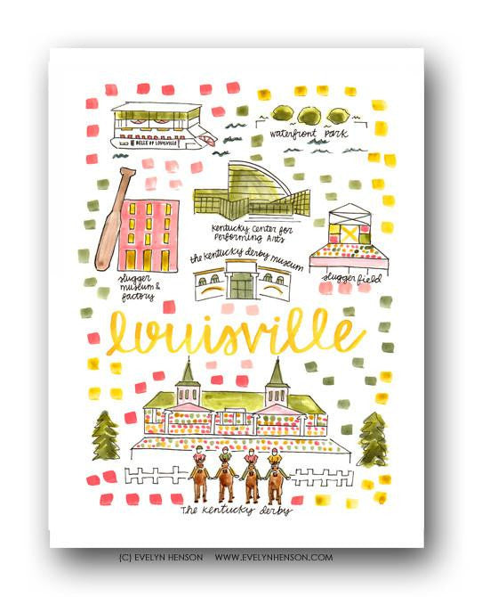 Evelyn Henson City Map Prints- Louisville, KY