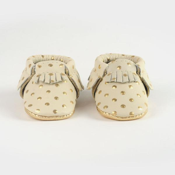 Newborn Moccasins by Freshly Picked - Cream & Gold