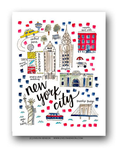 Evelyn Henson City Map Prints - New York City, NY
