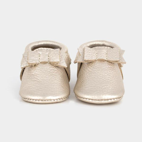 Luxe Moccasins by Freshly Picked - Platinum Bow