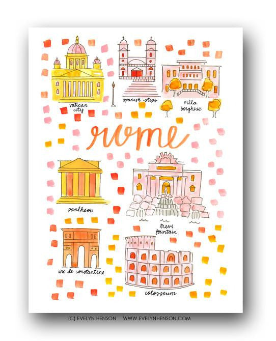Evelyn Henson City Map Prints - Rome