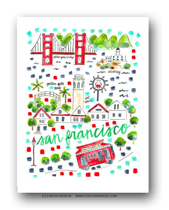 Evelyn Henson City Map Prints  - San Francisco, CA