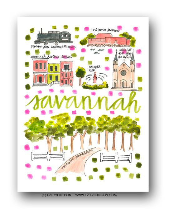 Evelyn Henson City Map Prints  - Savannah, GA