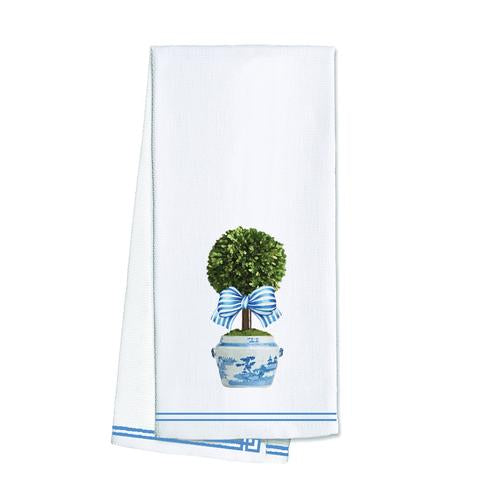 Cotton Tea Towel - Striped Topiary