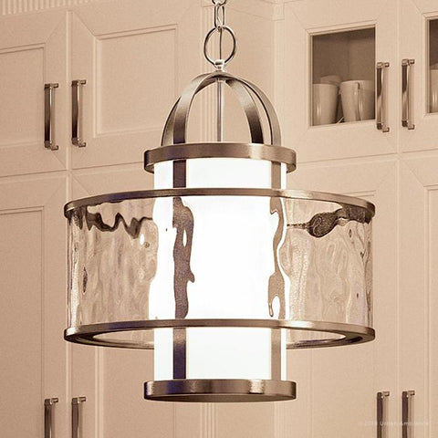 "UHP2093 Art Deco Pendant Light, 18.625""H x 15""W, Brushed Nickel Finish, Chesapeake Collection - Urban Ambiance"