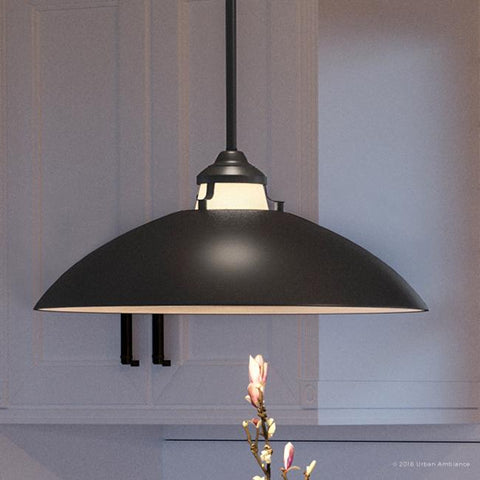 "UHP2153 Americana Pendant Light, 8""H x 20""W, Charcoal  Finish, Sunderland Collection - Urban Ambiance"