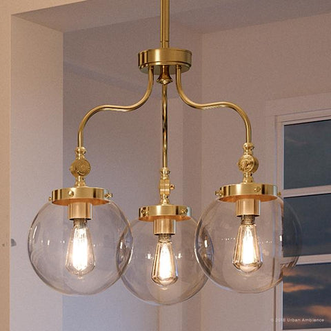 "UHP2647 Globe Chandelier, 17-3/4""H x 22""W, Native Brass Finish, Glasgow Collection - Urban Ambiance"