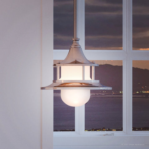 "UHP2970 Nautical Pendant Light, 7-5/8"" x 8"", Brushed Nickel Finish, Cartagena Collection"