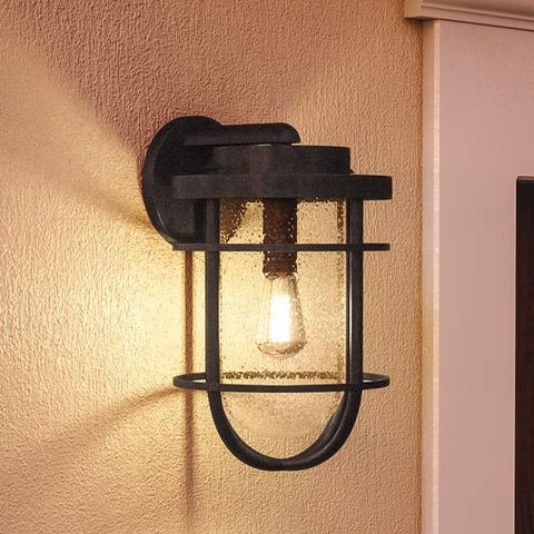 "UQL1002 Nautical Outdoor Wall Light, 17.25""H x 10""W, Black Sand Finish, Cape Town Collection - Urban Ambiance"