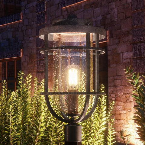 "UQL1003 Nautical Outdoor Post Light, 19.25""H x 10""W, Black Sand Finish, Cape Town Collection - Urban Ambiance"