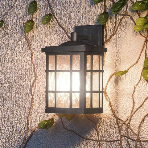 "UQL1240 Craftsman Outdoor LED Wall Light, 13""H x 8""W, Black Silk Finish, Zurich Collection - Urban Ambiance"