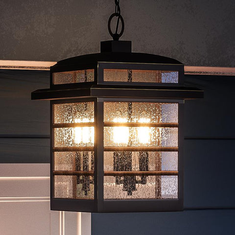 "UQL1290 Craftsman Outdoor Pendant Light, 15.25""H x 10.25""W, Parisian Bronze Finish, Anvers Collection"