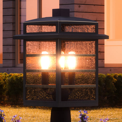 "UQL1294 Craftsman Outdoor Post/Pier Light, 16.25""H x 10.25""W, Parisian Bronze Finish, Anvers Collection"